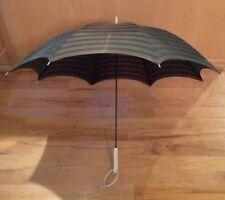 "VIntage Striped Umbrella With Unusual Plastic/Lucite Ring Handle 32"" L X 39"" D"