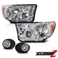 For 07-13 Toyota Tundra Crystal Clear L+R Headlight Lamp+Clear Fog Light Lamp