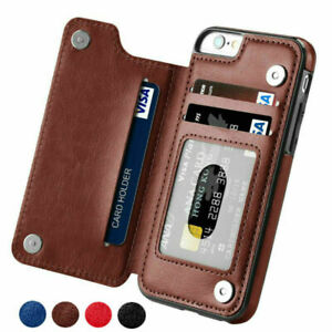 Leather Wallet Card Holder Phone Case iPhone 12 11Pro Max XR Samsung S9 S10 Plus