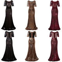 1920s Long Wedding Prom Dresses 2/3 Sleeves Sequin Beaded Party Formal Evening