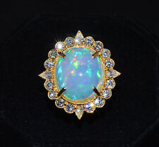 Certified Natural 12.1Cts VS F Diamond Opal 18K Solid Gold Cocktail Dinner Ring