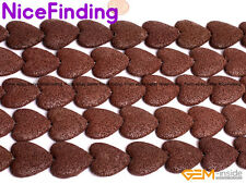 27mm Heart Sponge Lava Rock Beads For Jewelry Making Gemstone Strand 15''In Bulk