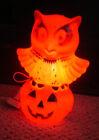 vintage plastic Halloween owl on pumpkin blow mold light decoration rare