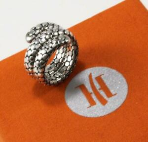 JOHN HARDY 925 STERLING SILVER BYPASS FLEX BAND DOUBLE COIL DOT RING SIZE US-7