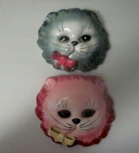 Vintage Lefton Cat Face Wall Pocket Red/Pink Blue/Grey Pair