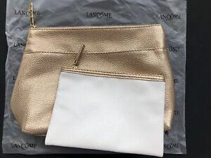LANCÔME 2 PIECE GOLD / WHITE ZIPPERED COSMETIC MAKEUP BAG