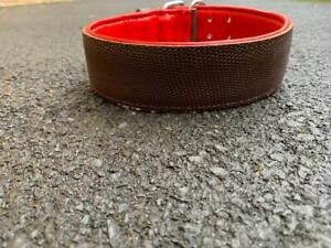 Leather Dog Collar Double Strip Adjustable Brown Large Dogs Heavy Duty Handmade