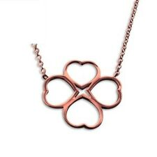 """rose gold four leaf clover 4 good luck pendant necklace 18 """" chain & gift bag"""