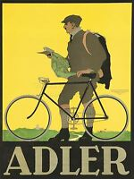 ART PRINT POSTER ADVERT ADLER BICYCLE MAP MAN BIKE NOFL0951