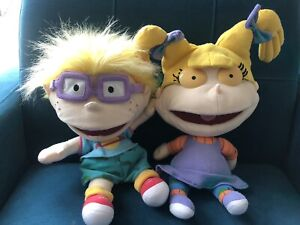 1998 Viacom Applause Rugrats Angelica & Chuckie Puppets Soft Toys
