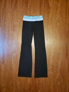 Lululemon Groove Floral Band Bootcut Reversible Black Yoga Pants 4