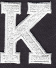 "LETTERS - WHITE BLOCK LETTER ""K"" (1 7/8"") - Iron On Embroidered Applique Patch"