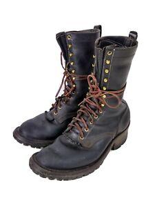 NICKS Handmade Boots USA Leather Work Logger Lineman Boots Mens 10.5 E Broken In