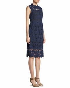 Kate Spade New York Bi-Colour Lace Midi Dress Navy Blue XXS US 0 UK 4 BNWT £395