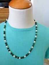 Gorgeous Jade Bead & Cultured Pearl Necklace 14K Gold Clasp Hand-Strung w/Knots