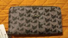 Kipling Wallet Vanessa Optic Black K Print Zip Around Wallet Organizer AUTHENTIC