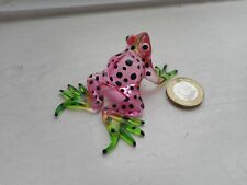 FROG - BEAUTIFUL - COLOURFUL -  MINIATURE GLASS  FROG - PINK/GREEN/BLACK