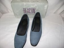 Beacon Womens Size 8.5 Blue Suede Wedge Heels Shoes EUC