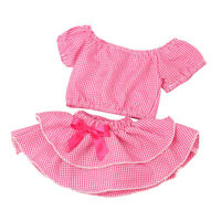 Charming Princess Summer Plaid Top, Dress for 18'' American Doll Dress Up