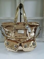 COACH POPPY LIMITED EDITION SPOTLIGHT GOLD SEQUIN SATCHEL TOTE 15383