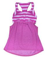 Lululemon Tank Top Sz 4 Womens Pink Stripe Athletic Racerback Yoga Gym Cutout