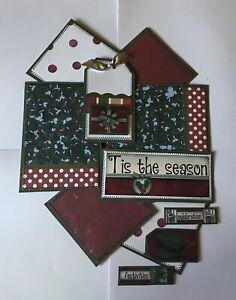 "TIS THE SEASON ""Christmas"" Premade Scrapbook Page Mat Set SEWN"
