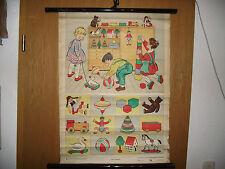DDR Spielzeug Lehrtafel Wandkarte Rollkarte Spiel im Zimmer Erika Werner Nestler