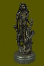 SIGNED ~Mavchi~bronze statue art nouveau deco flower girl Figure DecoationBD