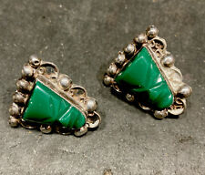 Vintage Sterling Silver  Carved Green Onyx Face Head Screw Back Earrings Mexico
