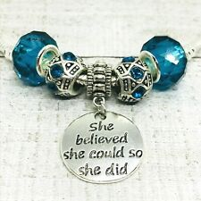 March Birthstone Dangle Charms European Bead fit Bracelet She Believed she could