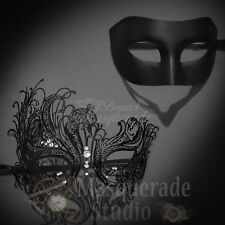 His & Her's Couples Black Simple and Swan Costume Masquerade Masks Set