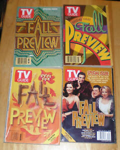 """TV Guide. """"Fall Preview"""" Issues. Lot of 4. 1997-2000"""