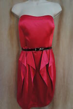 Jessica Simpson Dress Sz 10 Pink Satin Belted Strapless Pleated Ruffle Cocktail
