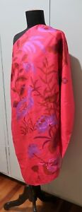 *Vintage 92cm Square Hot Pink Printed Thai Silk Scarf
