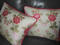 ZOFFANY Pillows woven fabric Roses andCorn floral design cotton viscose new PAIR