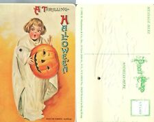 HALLOWEEN POSTCARD BRAND NEW UNUSED EMBOSSED BOY w/ MOVEABLE JACK-O-LANTERN