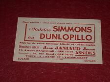 [ART & PUBLICITE, COLLECTIONS] BUVARD ANCIEN MATELAS SIMMONS DUNLOPILLO Asnières
