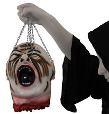 HANGING CHAIN SEVERED HEAD RUBBER LATEX LIFE SIZE GORY HALLOWEEN PROP DECORATION