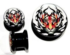 6-25mm Tribal Tattoo Tiger Big Cat Flames Logo Screw Fit Tunnel Ear Plug Earring