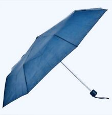 "Umbrella Compact Blue Rain Portable Emergency Travel Large 42""arc"