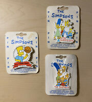 3 Simpsons Pins New On Card 1990 All Star Bart Dancing Family & Family Portrait