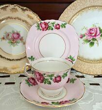 VINTAGE COLCLOUGH BONE CHINA ENGLAND PINK & ROSE PATTERN TRIO C1945-1948