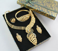 African Beads Costume Necklace Set Party Fashion 18K Gold Plated Jewelry Sets