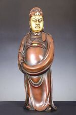 LARGE OLD CHINA BRONZE CAISHEN GOD OF WEALTH BUDDHA FIGURE STATUE
