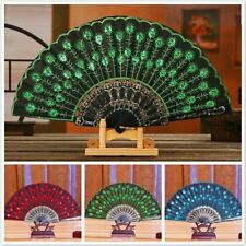 Silk Fabric Folding Women Lady Hand Fan Embroidered with Sequins Fan Party Decor