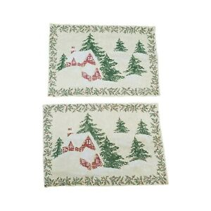 Martha Stewart Everyday Gold Woodland Holiday Christmas Tapestry Placemats Set 2