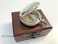 "Antique Compass Vintage Brass Chrome Nautical 2""Inch Wooden Box Steampunk Retro"