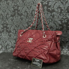 Rise-on CHANEL Ultra Stitch RED Calfskin Leather Shoulder bag Tote bag #1976
