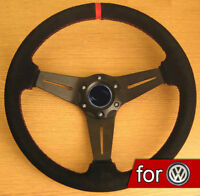Suede Leather Rally Steering Wheel for VW Transporter T3 T4 T5 Caravelle Beetle