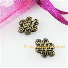 20Pcs Antiqued Bronze Tone Oval Chinese Knot Spacer Beads Charms 7x10mm